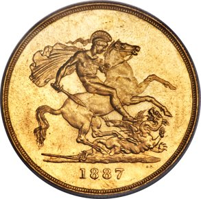 Victoria gold 5 Pounds 1887 MS642